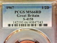 1967 PCGS MS66RD 1/2 PENNY S-4158 GREAT BRITAIN