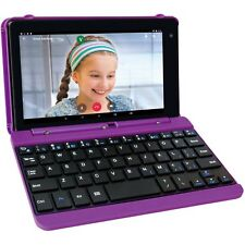 "2 in 1 Tablet Laptop 7"" Screen Quad-Core 16GB Android With Keyboard Case Purple"