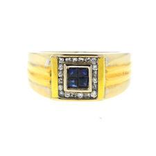 18k Two Tone Sapphire & Diamond Men's Ring
