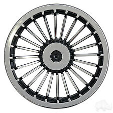 "Yamaha Ezgo Club Car Golf Cart Wheel Cover Hub Caps 8"" Black Silver Turbine set4"