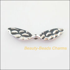 3Pcs Tibetan Silver Tone Animal Wings Spacer Beads Charms 10x41.5mm