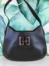 8c15283c5eb0  795 SALVATORE FERRAGAMO Brown Leather Shoulder Bag Wood Logo Flap Snap SALE !
