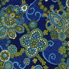 Fabric #2398, Blue Green Gold Abstract Designs on Dk Blue Blank Sold by 1/2 Yard