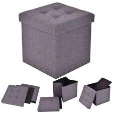 Folding Storage Cube Ottoman Seat Stool Box Footrest Furniture Decor Dark Gray