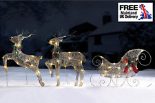 GOLD Reindeer and Sleigh Set,  Outdoor LED Lights,  Christmas Decoration XMAS