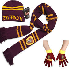 Harry Potter Gryffindor Thicken Knit Warm Scarf +Cap/Hat + Gloves Costume Gift