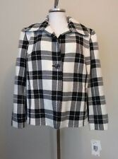 NWT Evan Picone Navy Blue White Plaid Wool Blend Jacket Size 18W $124