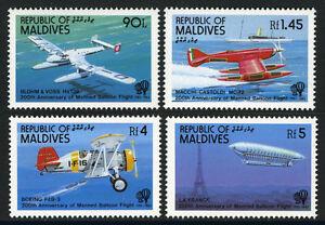 Maldives 980-983, Mi 1001-1004, MNH Habités Vol Bicent. Planes,Balloon,1983