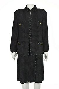 SAKS FIFTH AVENUE Black Chenille Knit Skirt Suit with Ribbon Trim SIZE 14 XL