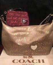Coach Gold New York Script Lurex Metallic Bag 17472+ Burgundy Wristlet Wallet