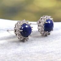 Genuine Lapis Lazuli Zircon Round Halo Earrings Stud 925 Sterling Silver Dainty