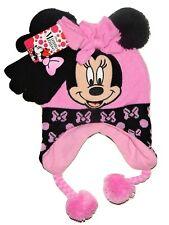 DISNEY MINNIE MOUSE Knit Laplander Winter Hat & Gloves Set w/ Pom-Pom Ears
