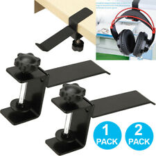 2XSteel Headset Earphone Headphone Hanger Stand Holder Table Clamp Clip + Screws
