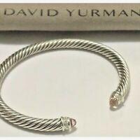 David Yurman Sterling Silver Morganite and Diamonds 5mm Cable Cuff Bracelet