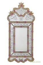 DUSX Vintage Venezia Murano Gold & Pink Etched Decorative Bedroom Wall Mirror