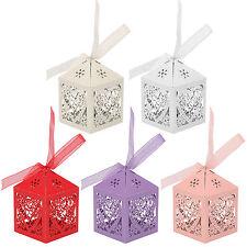25/50/100PCS Boîte à dragées Bonbons Cage Cœur Ciselé Ballotin Cadeau Mariage