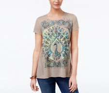 Style & Co Peacock Graphic T-Shirt in Oatmeal, Small