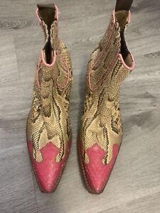 Snakeskin Western Ankle Boots R.Soles Judy Rothchild Size Eu 37 Uk 4 Tony Mora
