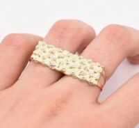 Men's Rectangular Nugget Diamond Cut Two Finger Ring Real 10K Yellow White Gold
