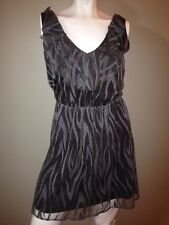 Charlotte Russe Gray Sleeveless Stretch Dress V-neck & back Animal Print Size S