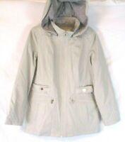 New Liz Claiborne Hooded Jacket Gray Large Long Sleeve Zip A262944 Women EE592