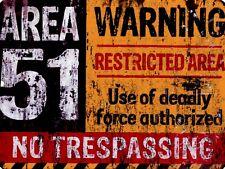 """Area 51 No Trespassing  9"""" x 12"""" Sign"""