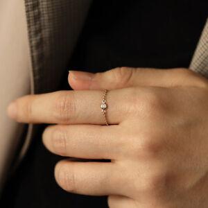 Diamond Bezel Chain Ring | Chain Diamond Ring | Minimalist Jewelry