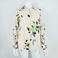 Paul Costelloe Living Studio Blouse Beige Floral Print UK 8 / 36 Green / Blue