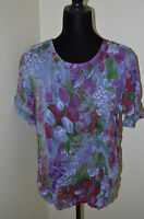 Tianello Floral Tulip Ellie Blouse Short Sleeve Rayon Size XS