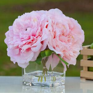Silk Peony Artificial Flower Arrangement Centerpiece Cube Glass Vase Faux Water