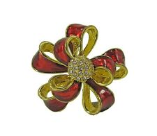 Red and Gold Ribbon Brooch Pin with Crystals – NEW