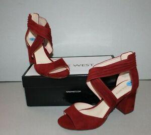 NIB Nine West Gazie Wedge Heel Open Toe Shoes Women's Sz 7.5 Burgundy Red