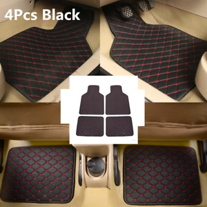 4PCS/Set Universal Waterproof PU Leather Car Floor Mats Carpet Protect Pad Black