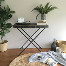 Rustic Butler Table with Black Metal Legs/Bedside Table/Industrial Farmhouse