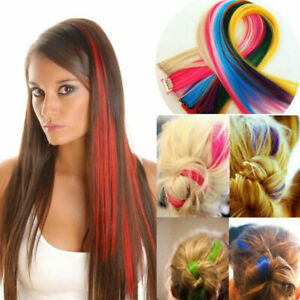 Womens Long Straight Synthetic Cosplay Clip In Hair Extension Hairpiece