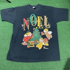 Vintage Noel Christmas Religious T Shirt Size Xl Black Faded