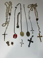 Lot of 11 Catholic Religious Lapel Pins, Rosary, Crosses, Bracelet, Necklaces