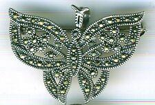 "925 Sterling Silver Marcasite Butterfly Brooch or Pendant  Width 1.1/2""   37mm"
