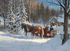 Jigsaw Puzzle Animal Sugar Shack Horses Winterscape 1000 pieces NEW Made in USA
