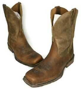 DISTRESSED Ariat MEN'S Brown Leather Rambler Western Cowboy Boots Size 10.5D US