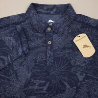 Tommy Bahama Long Sleeve Hawaiian Polo Shirt Mens Size Large Floral Blue