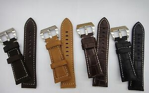 Larger wrist size Genuine Leather Band Strap (FITS) PANERAI 26mm 24mm 22mm