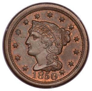 1850 1C Braided Hair Cent PCGS MS64RB Rattler