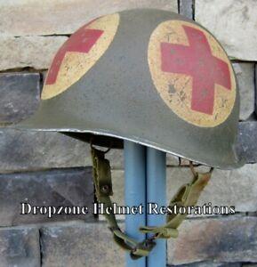WWII M2 Dbale US Airborne Medic Helmet McCord Front Seam Paratrooper