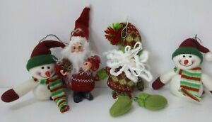 Christmas Tree Hanging Decorations Xmas Father Christmas Snowman Red/Green/White