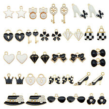 20pcs Black&White Enamel Plated Clothing Accessories Pendant Charms DIY Findings