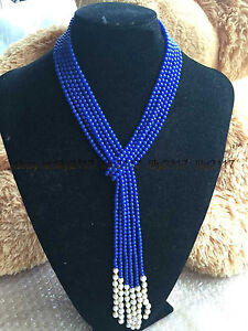 AAA Charm 3 strands 4mm blue Lapis Lazuli round gems & White Pearl Necklace 50""