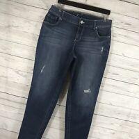 Lane Bryant Womens Denim Jeans Genius Fit Skinny Distressed Stretch Plus Size 14