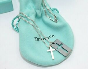 Tiffany & Co. Sterling Silver Double Cross Necklace