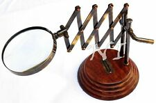 Old Desktop Channer Magnifier Brass Vintage Magnifying Glass on Wooden Stand